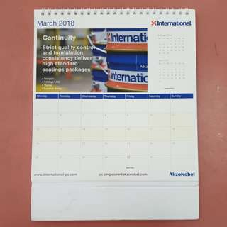 2018 desk calendar, only January used