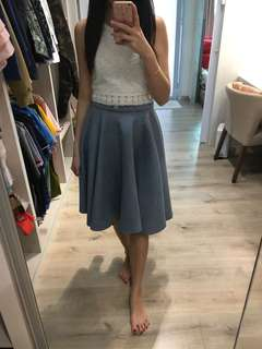 Blue Suede Flare Skirt
