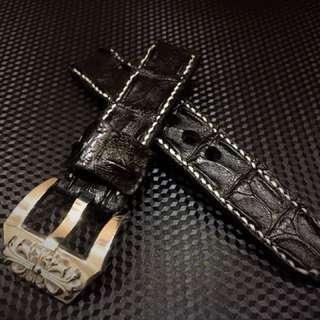 黑色真鱷魚骨兩邊縫線錶帶~SEIKO ROLEX PANERAI OMEGA 精工 勞力士 Apple Watch 真皮表带