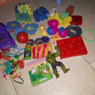 Take all toys and hardbound book