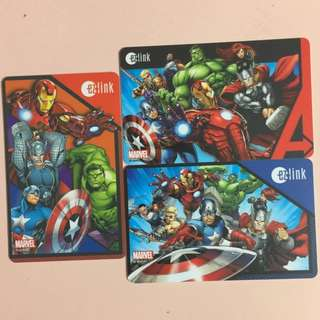 Limited Edition brand new set of 3 Avengers Superheroes ezlink Cards for $80.