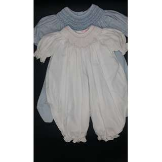 BF:  Petit Ami Smocked Romper White 24M with FREE Blue DRESS 2T