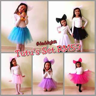 Tutu Skirt w/Ribbon Head Band Set