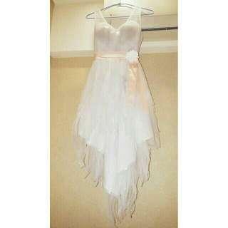 🚚 美人魚前短後長銀白色洋裝禮服