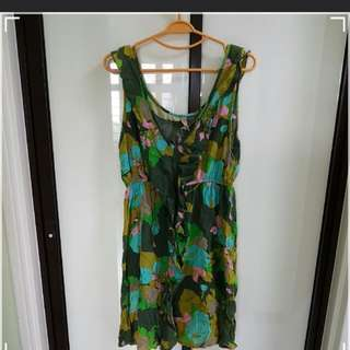M/L/XL/UK10/UK12 - Cotton On Green Nature Frill Dress