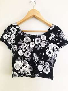 Black & White Floral Crop Top