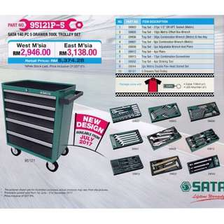 SATA 140Pc 5 Drawer Tool Trolley Set
