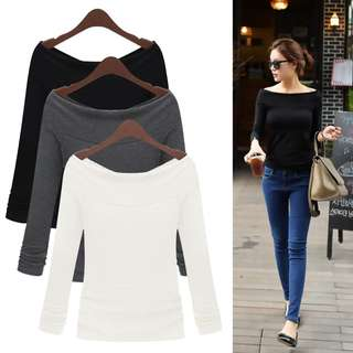 《PO #128》Women Casual Pullover Long Sleeve Blouse (S~XL)