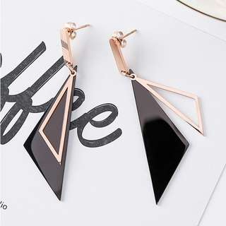 Titanium Steel Triangle Rose Gold Earrings