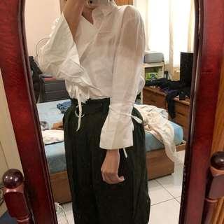 🚚 設計感白色襯衫