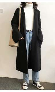 全新黑色長款針織外套