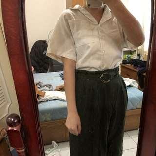 🚚 綠色寬褲(附腰帶)
