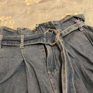 🚚 牛仔寬褲(附綁帶)