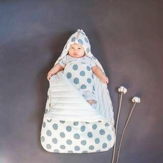 粉紅圓點, 藍色圓點 韓系 BB被袋 pink blue 新生寶寶全棉抱被 新生 品牌 純色 全新