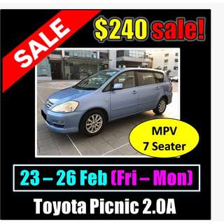 $240 Toyota Picnic 23-26 Feb Weekend Sale
