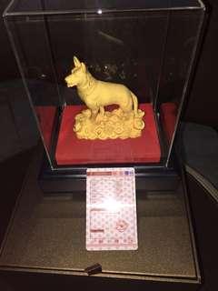 Pajangan anjing 2018 lapis gold asli ada sertifikat