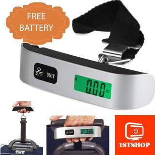 💖READY STOCK💖[Portable Luggage Scale] Electronic Digital LCD Travel Hook 50kg 10g *Free battery*