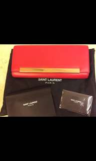 全新YSL Saint Laurent Red Clutch 紅色手提包袋bag