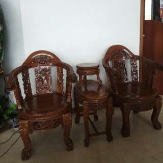 Set of Antique Chairs with Eight Dragon and Fulushou Carving