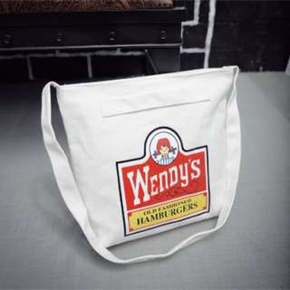 Wendy's burger white canvas tote bag