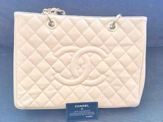 Chanel GST Beige Caviar Leather Quilted Gold Chain