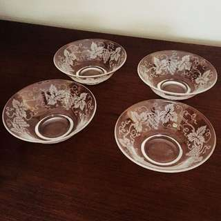 Vintage Stuart crystal vine leaf and grape sweet bowls