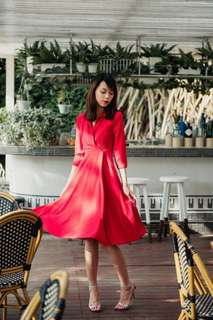 Thread Theory Dashing Diane Midi Dress, Red