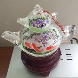 Exquisite Crystal Tea Pot by Well Renowned Beijing Master ..hand painted fr inside