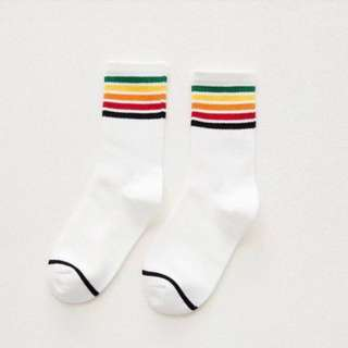 Cotton Rainbow Striped Socks