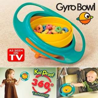NEW Gyro Bowl 360 Degree GyroBowl Kids Anti Split Bowl Dinner Lunch Snacks Dining Kid Child Proof Split Proof Pink Blue Green Baby Proof New In Bag