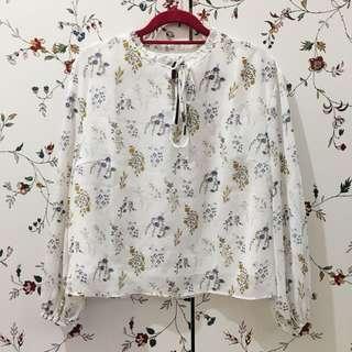 Zalora collection strap ruffle floral top