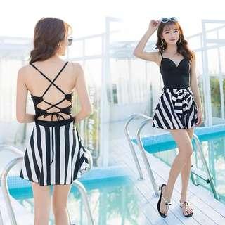 Sweetheart Lace Up Bare Back Stripes Dress Swim Wear