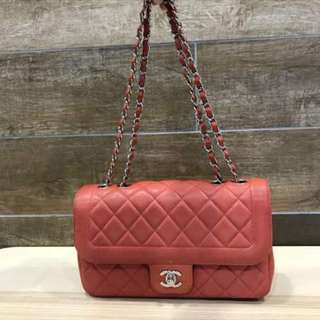 60% off - Authentic CHANEL Medium Flap Bag in CORAL RED