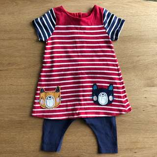 Mothercare Red & Blue Stripe Dress w/ Leggings (0-3 Months)