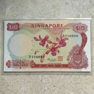UNC SINGAPORE $10 ORCHID HSS W/SEAL B/75 776889