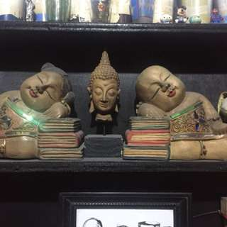 Thai wooden Buddha bookends