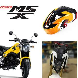 Honda MSX125 yellow white red black front windshield windscreen screen shield head cowl fairings coverset