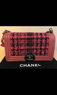 Chanel 格仔粉色 Pink color boychanel 銀鏈鍊手袋bag包