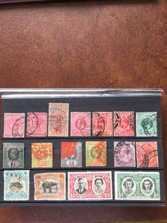 Fancy stamps lot 17 stamps all British empire kings and queens Q.V. KEVII KGV KGVI North Borneo Q.E.II