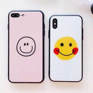 手機殼IPhone6/7/8/plus/X : 可愛笑臉玻璃背板