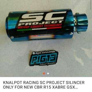 KNALPOT RACING SC PROJECT SILINCER ONLY FOR NEW CBR R15 XABRE GSX VIXION MX KING DLL 150 CC ALL