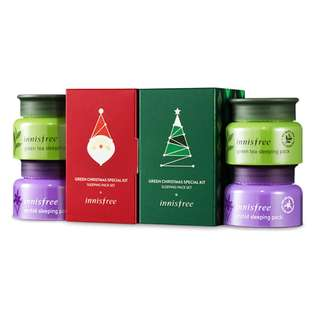 Innisfree Green Christmas Sleeping Pack Kit Set