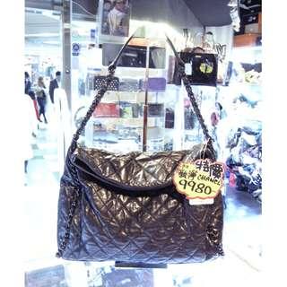 Chanel Silver Black Leather Chain Shoulder Hand Bag 香奈兒 銀黑色 皮革 真皮 鍊袋 肩袋 手挽袋 手袋 袋