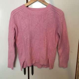 粉紅前短後長微厚針織上衣長袖毛衣
