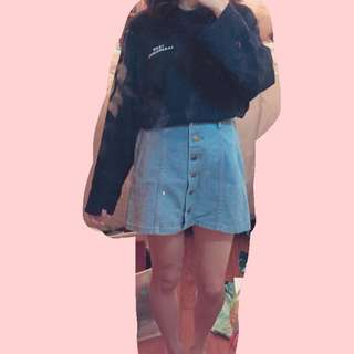 單寧排扣短裙
