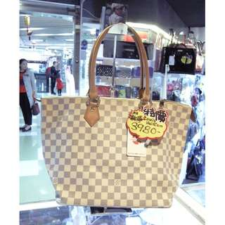 LV Louis Vuitton White Azur Damier Shoulder Hand Bag 路易威登 白色 格仔 棋盤花 老花 手挽袋 手袋 肩袋 袋