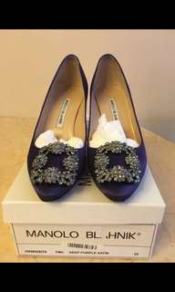 Manolo Blahnik MB經典灰紫色高跟黑銀鑽鞋shoe