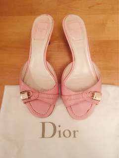 Dior Pink Leather Sandal Heels