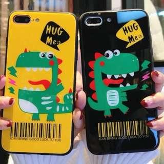 手機殼IPhone6/7/8/plus/X : 可愛小恐龍玻璃背板殼