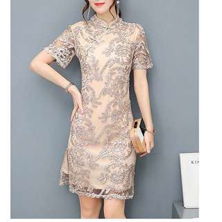 Gold lace cheongsam